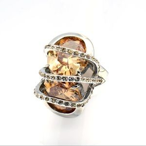 Stunning statement ring in Amber and silver